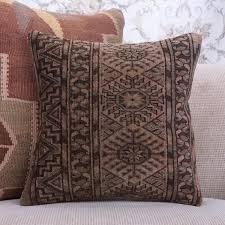 earthy soft handmade rug pillow 16x16