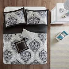 intelligent design sabrina 4 piece black twin twin xl damask duvet cover set id12 007 the home depot