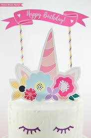 Unicorn Cake Topper Printable With Flowers Unicorn Party Press