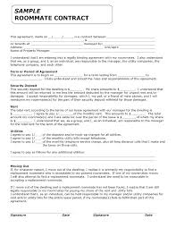 Property Manager Contract Form Printable Sample Roommate Agreement