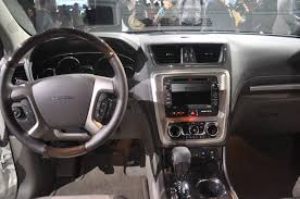 gmc acadia 2012 interior. Interesting Gmc The Interior Also Sees Improvements Utilizing More Softtouch Materials  Along With French Stitching And Red Ambient Light Flowing Across The Dashboard Throughout Gmc Acadia 2012 Interior