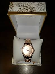 Charte Club Charter Club Womens Rose Gold Tone Bracelet Watch 30mm