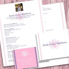 Digital Printable Sorority Recruitment Packet With Photo And Resume