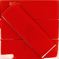 red glass mosaic tiles mirror kitchen