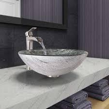 glass bathroom sinks. Vessel Sink In Titanium And Niko Faucet Set Brushed Nickel Glass Bathroom Sinks
