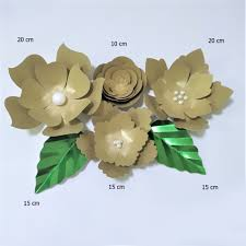 Pink Paper Flower Decorations Us 15 22 39 Off Handmade Gold Rose Diy Paper Flowers Pink Leaves Set For Party Wedding Backdrops Decorations Nursery Wall Deco Video Tutorials In