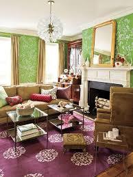 charming eclectic living room ideas. Elegant Green Floral Wallpaper Charming Eclectic Living Room Ideas R