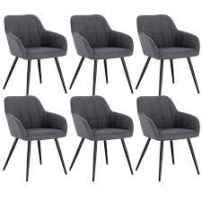 Woltu 6 X Esszimmerstühle 6er Set Esszimmerstuhl Küchenstuhl Polsterstuhl Design Stuhl Mit Armlehne Gestell Aus Metall Bh93 6 Samtmöbel