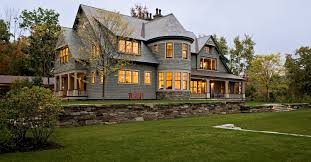 05 Exterioir Overall At Dusk Jpg Home Exteriors Pinterest Photos Shingle Style Home Drive Court To Entry Elevation Victorian Exterior Burlington