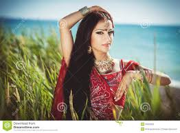 beautiful young indian woman in traditional clothing with bridal makeup and jewelry gorgeous brunette bride traditionally dressed outdoors in india