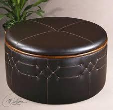 round leather coffee table storage ottoman