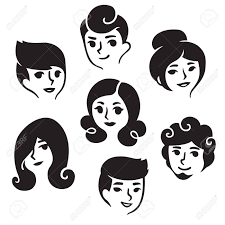 Cartoon Male And Female Faces With Different Hairstyles Illustration