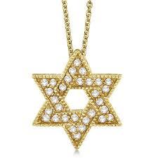 jewish star of david diamond pendant necklace 14k yellow gold 0 35ct