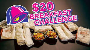 taco bell breakfast 20 value menu challenge