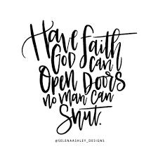 have faith open doors no man can shut es handlettering