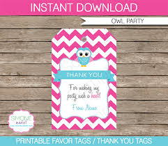 Birthday Tags Template Owl Birthday Party Favor Tags Thank You Tags Pink