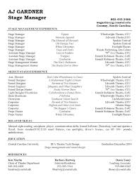 Stage Management Resume Stage Management Resume College Pinterest Stage management 1