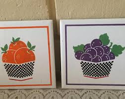 kitchen tiles with fruit design. vintage ceramic kitchen tiles / trivets,fruit design, decor, home and living with fruit design c