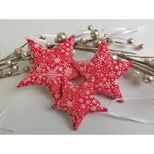 3 Sterne Christbaumschmuck Aus Stoff Rot Weiß Weihnachtsdeko Sterne Adventskalender Adventskranz Geschenk Stoffanhänger