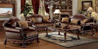leather sofa with wood trim