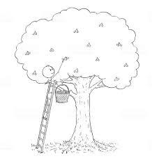 桜の木から果物を選ぶの梯子の上の人の漫画 アイデアのベクターアート