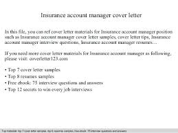 Sample Account Manager Cover Letter Insurance Account Manager Cover