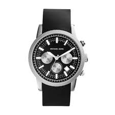michael kors scout silver tone silicone watch in black for men lyst gallery