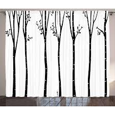 Black and White Curtains 2 Panels Set, Monochrome Birch Tree ...