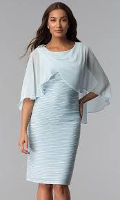 Light Blue Dresses For Mother Of The Bride Caped Mother Of The Bride Knee Length Sheath Dress