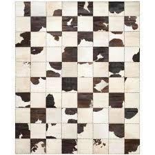 cow hide white black 8 ft x 10 ft area rug