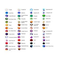 Swarovski Ab Color Chart Ooak Artist Emporium Swarovski Rhinestones