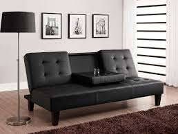 modern futon sofa bed. Modern Futon Sofa Bed With Cup Holders And Black Color Ideas For Luxury Interior Also Using Floor Lamp Stand U