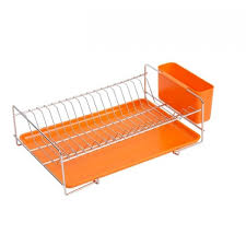 ... Flat stainless steel dish rack with orange tray and cutlery holder ...