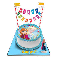 Disney Frozen Princess Cake With Happy Birthday Bunting Topper