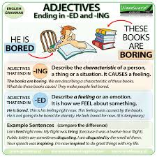 Adjectives ending in ED and ING English Grammar List