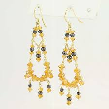 paul morelli citrine diamond chandelier earrings 18k yellow gold pierced