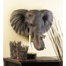 whole large elegant realistic african noble elephant head intended for elephant wall decor beautiful elephant wall decor ideas