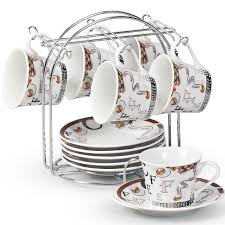 Decorative Cup And Saucer Holders Lorren Home Trends Espresso Cup and Saucer Set with Metal Stand 13