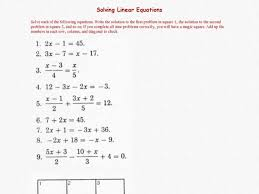 worksheets for all and share worksheets free on solving linear equations