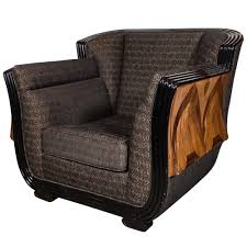 furniture art deco style. Art Deco Club Chair With Exotic Wood Inlay Design And Black Lacquer Furniture Style N