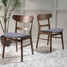 com helen mid century modern dining chair set of 2 dark grey w natural finish chairs
