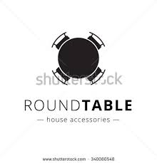 round table and chairs clipart. vector minimalistic black and white round table with chairs logo. brand sign. clipart