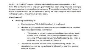 Eeoc Provides Guidance On Wellness Incentive Programs