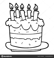 Line Drawing Cartoon Birthday Cake Stock Vector Lineartestpilot
