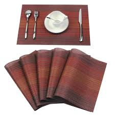 Amazon.com: Homcomoda Place Mats Washable PVC Dining Table Mats Non-slip  Heat-resistant Vinyl Placemats Set of 6(Red): Home & Kitchen