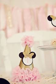 pink and gold minnie mouse birthday girl party hat mini hat headband hat minnie