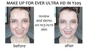 review and demo of make up for ever ultra hd foundation in y205 on nc5 nc10 skin