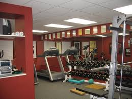 Interior:Modern Gym Decorating Ideas For Basement Modern Basement Gym Room  With Red Wall Idea