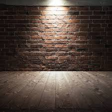 ... Wooden floor and red brick wall with spot light stock photo ...