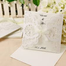 details about laser cut ribbon tie diy wedding invitation card inserts envelopes lots 10
